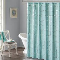 Intelligent Design Raina Metallic Shower Curtain in Aqua