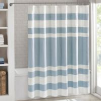 Madison Park 54-Inch x 78-Inch Spa Waffle Shower Curtain in Blue