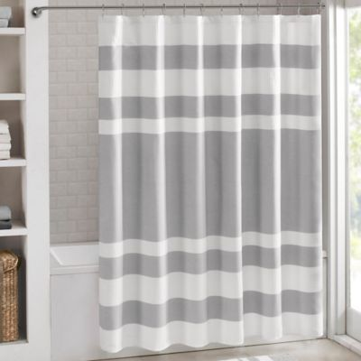 Madison Park 54 Inch X 78 Spa Waffle Shower Curtain In Grey