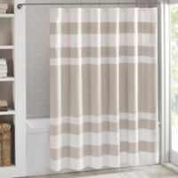 Madison Park 54-Inch x 78-Inch Spa Waffle Shower Curtain in Taupe