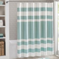 Madison Park 54-Inch x 78-Inch Spa Waffle Shower Curtain in Aqua
