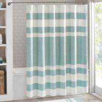 Madison Park 72-Inch x 84-Inch Spa Waffle Shower Curtain in Aqua
