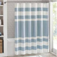 Madison Park 72-Inch x 84-Inch Spa Waffle Shower Curtain in Blue