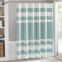 Madison Park 72-Inch x 96-Inch Spa Waffle Shower Curtain in Aqua