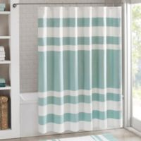 Madison Park 108-Inch x 72-Inch Spa Waffle Shower Curtain in Aqua