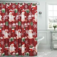 Creative Home Ideas Ho Ho Santa Textured Shower Curtain