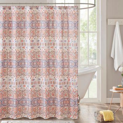 grey and orange shower curtain. Intelligent Design Mirabelle Shower Curtain in Grey Buy Paisley from Bed Bath  Beyond