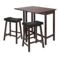 Winsome Lynnwood 3-Piece Dining Set with Drop Leaf and Saddle Seat Stools