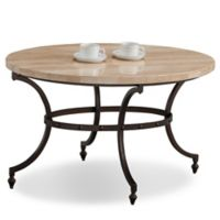 Leick Home Travertine Stone Top Coffee Table in Beige