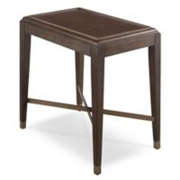 Leick Home Simone Narrow Chairside Table with Pitch Driftwood/Brushed Bronze Finishes