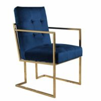 Abbyson Living Aide Velvet Armchair in Blue