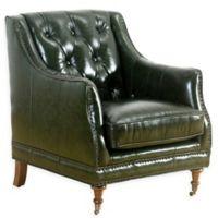Abbyson Living Nicolas Leather Club Chair in Emerald Green