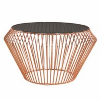 Abbyson Living Emma Stainless Steel Coffee Table in Rose Gold