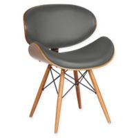 Armen Living Cassie Upholstered Dining Chair in Walnut/Grey