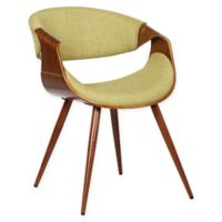Armen Living Butterfly Wood Upholstered Dining Chair in Walnut/Green