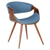 Armen Living Butterfly Wood Upholstered Dining Chair in Walnut/Blue