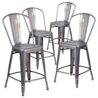 Flash Furniture 24-Inch Clear Coated Metal Counter Stools with Backs (Set of 4)