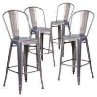 Flash Furniture 30-Inch Clear Coated Metal Bar Stools with Backs (Set of 4)