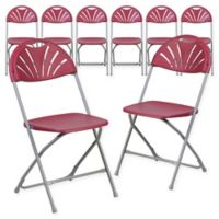 Flash Furniture Fan Back Plastic Folding Chairs in Burgundy (Set of 8)