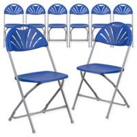 Flash Furniture Fan Back Plastic Folding Chairs in Blue (Set of 8)