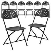 Flash Furniture Fan Back Plastic Folding Chairs in Black (Set of 8)