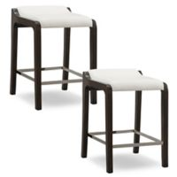 Leick Home Fastback Counter Stools in Pecan/White (Set of 2)