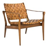 Safavieh Dilan Leather Safari Chair in Brown