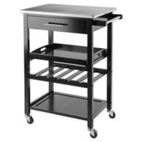 Anthony Kitchen Cart in Black/Stainless Steel
