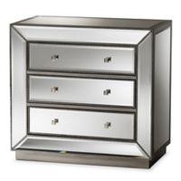 Baxton Studio Edeline Mirrored 3-Drawer Dresser in Silver