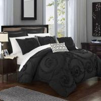 Chic Home Rosalinda 7-Piece Queen Comforter Set in Black