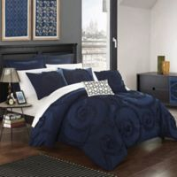 Chic Home Rosalinda 7-Piece Queen Comforter Set in Navy
