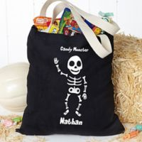 Glow-in-the-Dark Skeleton Halloween Treat Tote Bag