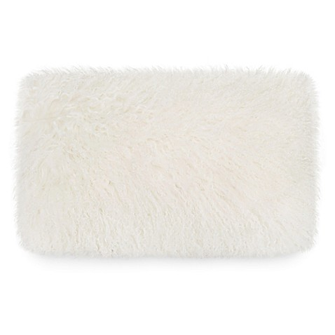 image of UGG® Mongolian Fur Throw Pillow in Natural