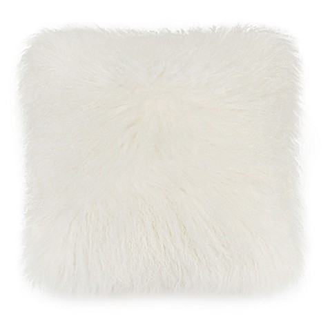 image of UGG® Mongolian Fur Floor Throw Pillow in Natural
