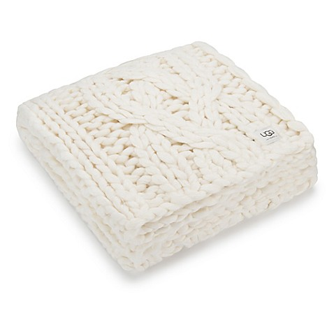 image of UGG® Oversized Chunky Cable Knit Throw Blanket in Natural
