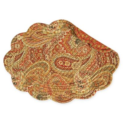 Tangiers Reversible Round Quilted Cotton Placemats (Set Of 6)