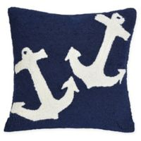 Liora Manne Anchor Indoor/Outdoor Square Throw Pillow in Blue