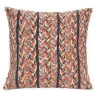 Liora Manne Braided Stripe Indoor/Outdoor Square Throw Pillow in Orange