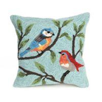 Liora Manne Birds Square Throw Pillow in Blue