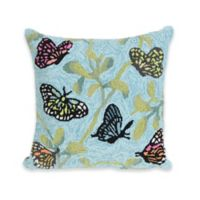 Liora Manne Butterflies on Tree Square Throw Pillow in Green