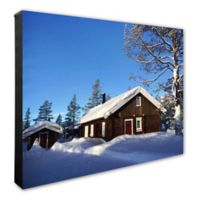 Snow Covered Cabin 20-Inch x 24-Inch Photo Canvas Wall Art