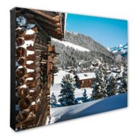 Mountainside Snow Covered Cabins 16-Inch x 20-Inch Photo Canvas Wall Art