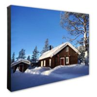 Snow Covered Cabin 16-Inch x 20-Inch Photo Canvas Wall Art