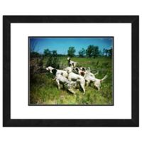 Hunting Dogs 18-Inch x 22-Inch Framed Matted Photo Wall Art