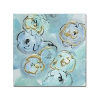 Trademark Fine Art Chris Paschke Gold Edged Teal I 14-Inch x 14-Inch Canvas Wall Art