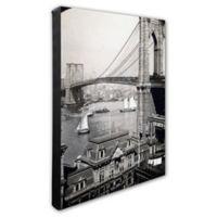 Brooklyn Bridge and Boats 16-Inch x 20-Inch Photo Canvas Wall Art