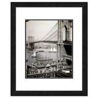 Brooklyn Bridge and Boats 22-Inch x 26-Inch Framed Wall Art