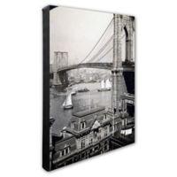 Brooklyn Bridge and Boats 20-Inch x 24-Inch Photo Canvas Wall Art