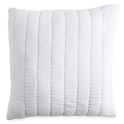 dknypure comfy quilted voile square throw pillow in linen