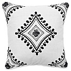 Shalini Square Throw Pillow in Charcoal/White